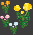 flowers in a group with leaves vector image vector image
