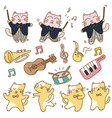 funny cats with musical instrument vector image