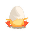 funny newborn duckling with broken egg shell on vector image vector image