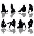 girl seated silhouette vector image vector image