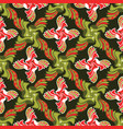green and red christmas floral lattice design vector image vector image
