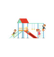group of preschool kids boys and girl playing at vector image