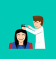 hairdresser and woman customer in flat art vector image
