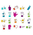 hand sign icon set color outline style vector image