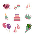 happy birthday party icon in flat style set vector image