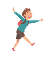 happy smiling boy running with backpack at airport vector image vector image