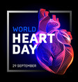 human body heart with abstract 3d geometry lines vector image vector image
