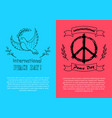 international peace day symbols on bright posters vector image vector image