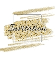 Invitation card with golden sparkling stars and vector image