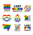 lgbt pride movement flat logos set vector image