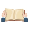 Male hands holding open book vector image vector image