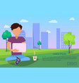 male in park using modern computer technologies vector image vector image
