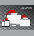 mockup screens with santa claus hats collection is vector image