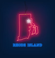 neon map state of rhode island on dark background vector image vector image