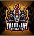 ninja rooster esport mascot logo design vector image vector image