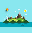 ocean landscape with island and man on boat flat vector image vector image
