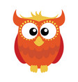 orange red cartoon owl vector image vector image