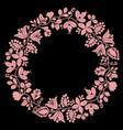 pink laurel wreath decorative frame on black vector image vector image