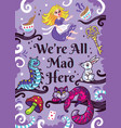 print with characters from alice in wonderland vector image vector image