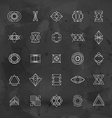 set abstract geometric hipster line art vector image