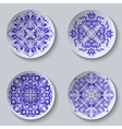 Set of circular plates with lace ornament vector image