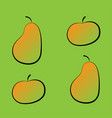 set of colorful pear and apple icons on a green vector image vector image