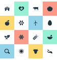 set of simple nature icons vector image vector image