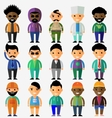 set smiling characters in cartoon style vector image