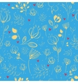 Spring Golden Flowers Blue Seamless Pattern vector image vector image