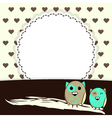 Template greeting card with brown hearts and two vector image
