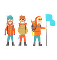 three mountain climbers with mountain climbing vector image vector image