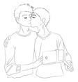 Two cute boys in love vector image