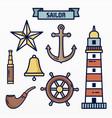 variety nautical elements set vector image vector image