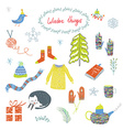 Winter and Christmas symbols set - funny design vector image