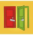 hand drawn pop art of doors Open and closed door vector image