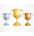 three trophies Gold Silver and Bronze vector image