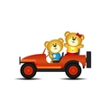 Bears on a car vector image vector image
