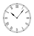 black and white clock face vector image vector image