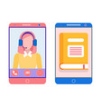 book on mobile phone and smart lady in smartphone vector image vector image