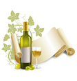 bottle and goblet of wine vector image vector image