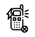 broken phone icon outline vector image vector image
