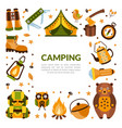 camping banner template with hiking equipment vector image vector image
