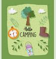 camping lantern boot compass tree vacations vector image