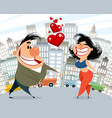 caricature couple in love vector image