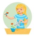Cartoon Girl Female Woman Character Bird Watering vector image vector image