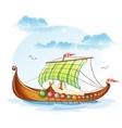 cartoon image viking merchant ships svi vector image