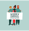 christmas and new year card diverse people team vector image vector image