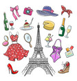 colorful paris fashion sketch collection vector image vector image