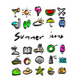 colorful summer icons sketch hand vector image vector image