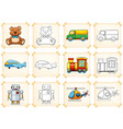 coloring template for different toys vector image